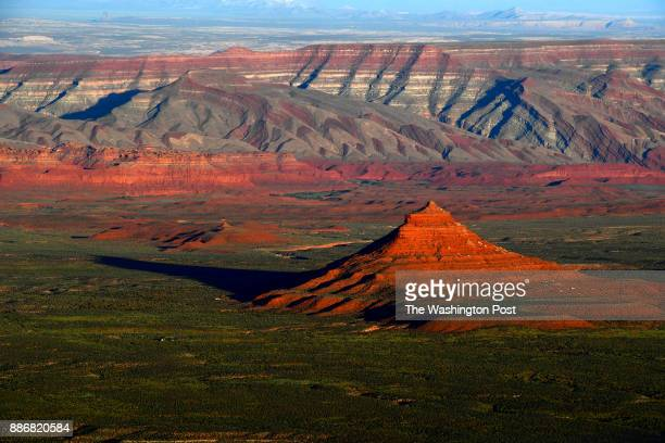 The sun sets over Bears Ears National Monument seen from the Moki Dugway June 11 2017 north of Mexican Hat UT President Trump announced Monday that...