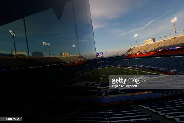 The sun sets over Bills Stadium after the Buffalo Bills' 27-24 win during the AFC Wild Card playoff game against the Indianapolis Colts on January...