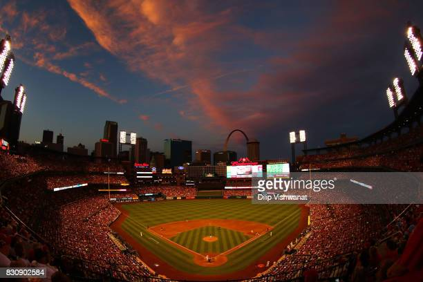The sun sets over Busch Stadium during a game between the St Louis Cardinals and the Atlanta Braves on August 12 2017 in St Louis Missouri