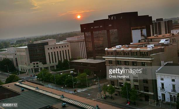 The sun sets over downtown Dayton on May 11 2004 in Dayton Ohio Once a postwar American boomtown in the 1950s and 1960s Dayton's economy sputtered in...
