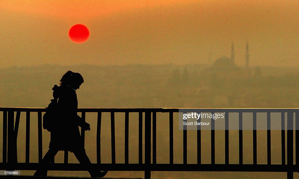 The sun sets over Istanbul following the double bombings on November 21, 2003 in Istanbul, Turkey. Bomb attacks on the British consulate and the HSBC bank headquarters have killed at least 27 people and left hundreds injured.