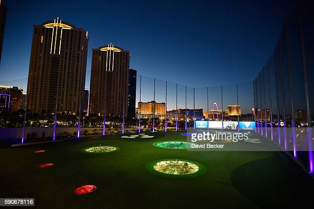The sun sets over Las Vegas Strip hotels and Topgolf Las Vegas during the debut of SWINGDISH women's golf apparel 2017 spring/summer collection by...