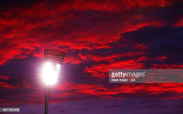 The Sun sets over Manukla Oval during the women's T20 match between the ACT and Victoria at Manuka Oval on October 24 2014 in Canberra Australia