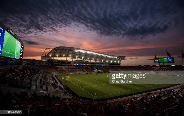 The sun sets over Rio Tinto Stadium during the game between Real Salt Lake of the Los Angeles FC on September 9, 2020 in Sandy, Utah.