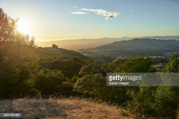 the sun sets over rolling hills in the bay area of california - finishing stock pictures, royalty-free photos & images