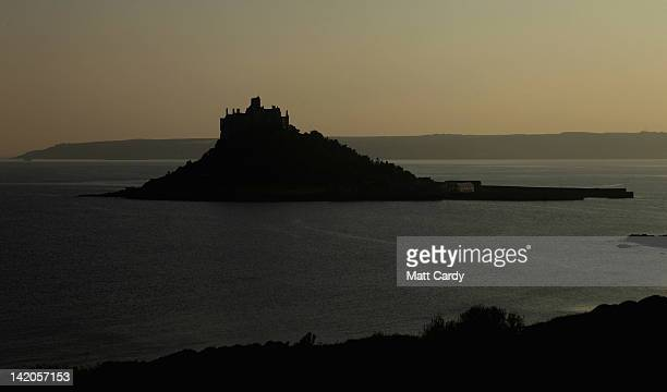 The sun sets over St Michael's Mount on March 28 2012 in Cornwall England With only a few months to go until the opening ceremony of the London 2012...