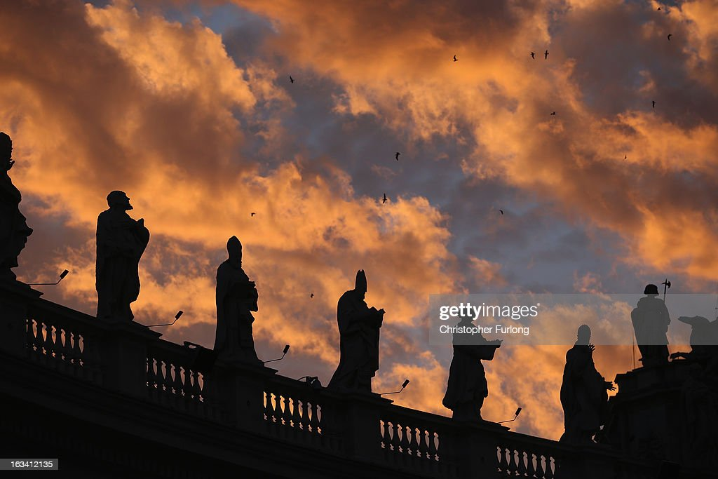 The sun sets over St. Peter's Square as cardinals prepare to vote for a new pope on March 9, 2013 in Vatican City, Vatican. Cardinals are set to enter the conclave to elect a successor to Pope Benedict XVI after he became the first pope in 600 years to resign from the role. The conclave is scheduled to start on March 12 inside the Sistine Chapel and will be attended by 115 cardinals as they vote to select the 266th Pope of the Catholic Church.