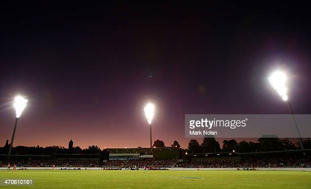 The sun sets over StarTrak Oval during the round two NAB Cup AFL match between the Greater Western Sydney Giants and the Sydney Swans at StarTrak...
