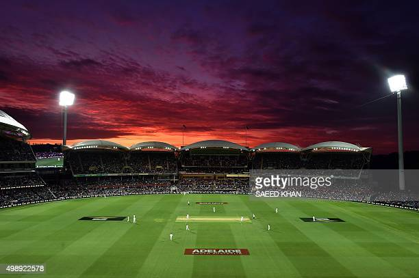 The sun sets over the Adelaide Oval during the first daynight cricket Test match between Australia and New Zealand in Adelaide on November 27 2015...