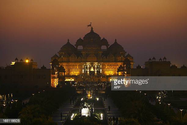 The sun sets over the Akshardham temple in New Delhi 26 December 2007 Guinness World Records has recognised a sprawling mockancient monument in the...