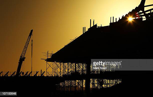 The sun sets over the construction of a new stand before the round 16 ALeague match between the Newcastle Jets and the Central Coast Mariners at...