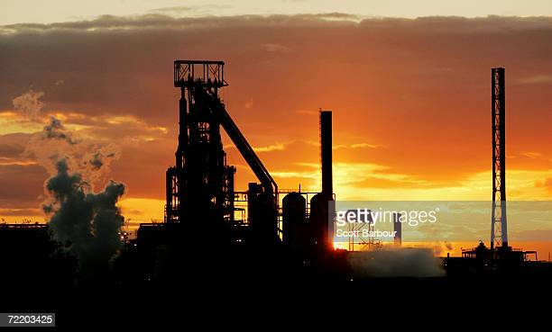 The sun sets over the Corus steelworks on August 8, 2006 in Port Talbot, Wales. Corus, formerly known as British Steel is Europe's second biggest...