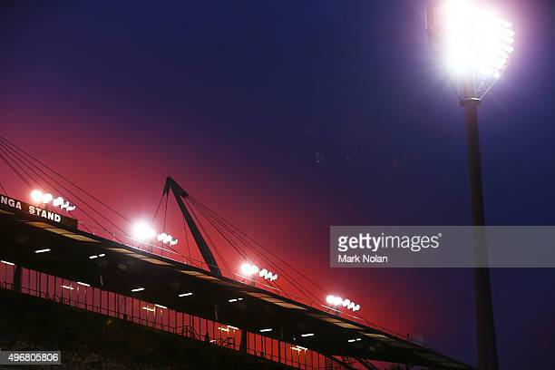 The sun sets over the ground before the 2018 FIFA World Cup Qualification match between the Australian Socceroos and Kyrgyzstan at GIO Stadium on...
