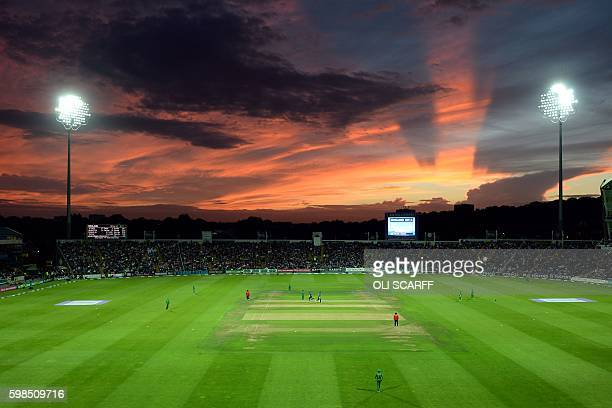 The sun sets over the ground during play in the fourth one-day international cricket match between England and Pakistan at Headingley cricket ground...