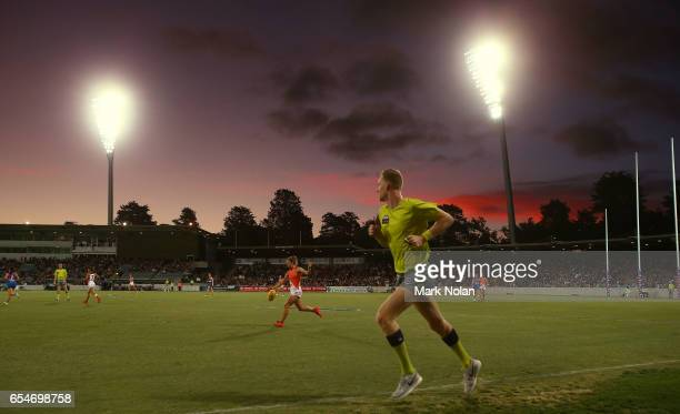 The sun sets over the ground during the round seven AFL Women's match between the Greater Western Sydney Giants and the Western Bulldogs at UNSW...