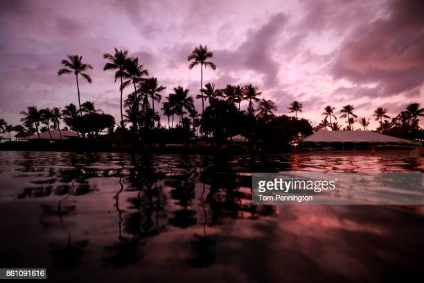 The sun sets over the IRONMAN World Championship race headquarters on October 13 2017 in Kailua Kona Hawaii