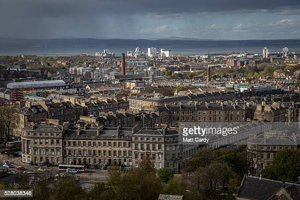 The sun sets over the New Town area of Edinburgh on May 3 2016 in Edinburgh Scotland As campaigning for the Holyrood election enters its last twenty...