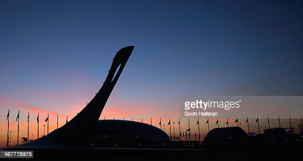 The sun sets over the Olympic Park during the Opening Ceremony of the Sochi 2014 Winter Olympics at Fisht Olympic Stadium on February 7 2014 in Sochi...