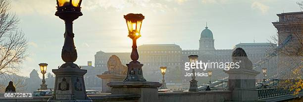 The sun sets over the Royal Palace, Budapest.