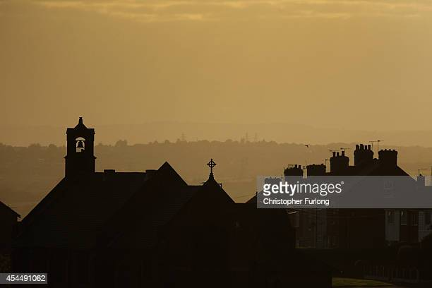 The sun sets over the south Yorkshire town of Rotherham on September 1 2014 in Rotherham England South Yorkshire Police are launching an independent...