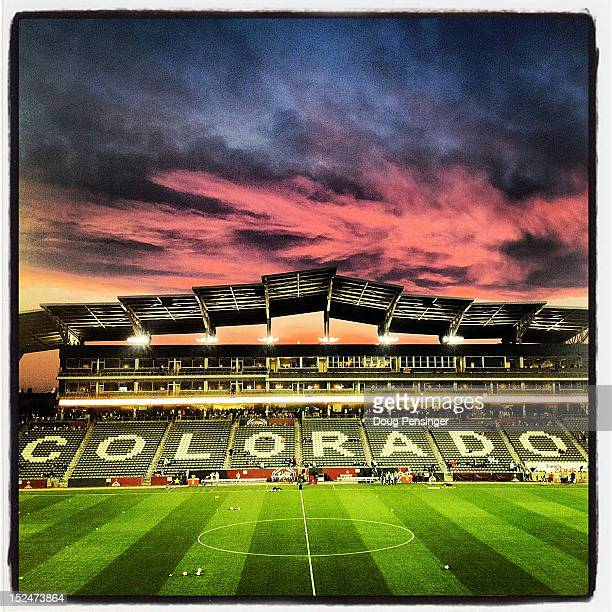 The sun sets over the stadium as Australia prepares to face the USA in a women's International Friendly at Dick's Sporting Goods Park on September 19...