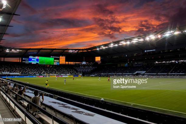 The sun sets over the stadium during the run of play during the match between Sporting Kansas City and FC Dallas on Wednesday September 2, 2020 at...