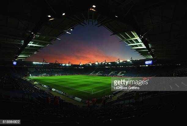 The sun sets over the stadium prior to the Barclays Premier League match between Leicester City and Newcastle United at The King Power Stadium on...