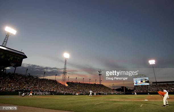 The sun sets over the third base stands as the Oregon State Beavers defeated the Rice Owls 20 to advance to the finals of the NCAA College World...