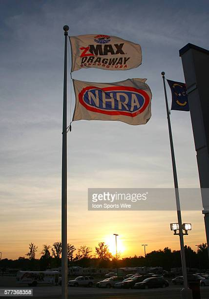 The sun sets over the zMAX Dragway in Concord NC
