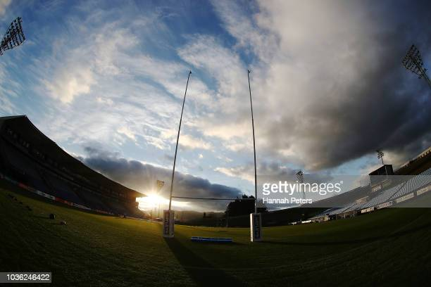 The sun sets over Toll Stadium ahead of the round six Mitre 10 Cup match between Northland and Southland at Toll Stadium on September 20 2018 in...