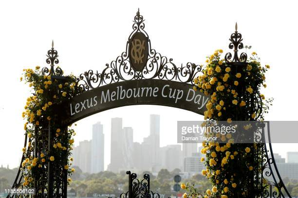 The sun shines before the 2019 Melbourne Cup Day at Flemington Racecourse on November 05 2019 in Melbourne Australia