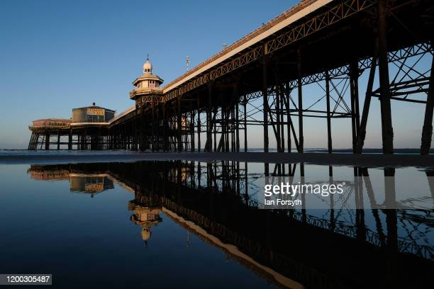 The sun shines down on North Pier on Blackpool seafront on January 18 2020 in Blackpool England Warmer weather has taken over following the recent...