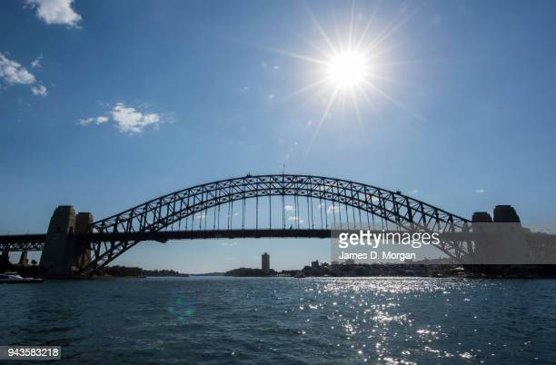 The sun shines in the midafternoon over the harbour bridge on April 9 2018 in Sydney Australia Sydney has been experiencing unseasonably high...