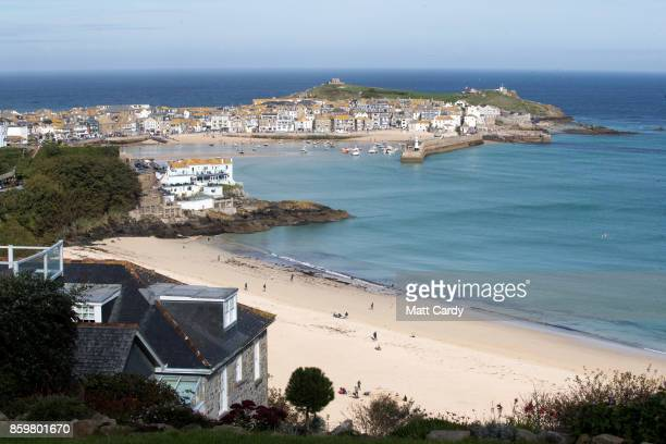 The sun shines on properties in the town of St Ives which has introduced measures to limit the number of second homes in St Ives on October 10, 2017...