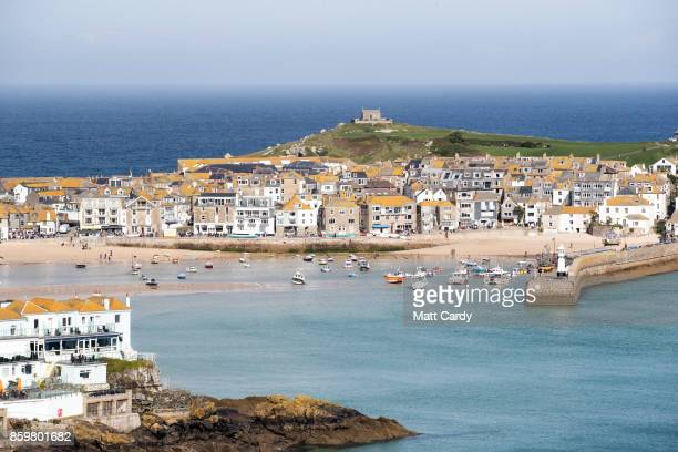 The sun shines on properties in the town of St Ives which has introduced measures to limit the number of second homes in St Ives on October 10 2017...