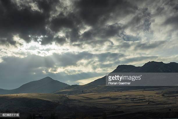 The sun shines on the landscape on November 14 2016 in Ankara Turkey