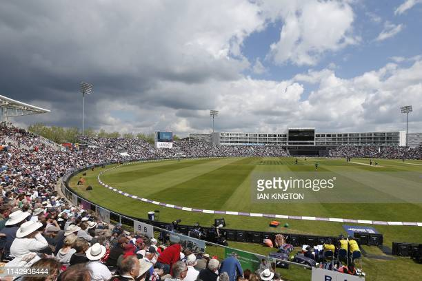 The sun shines on the outfield during the second One Day International cricket match between England and Pakistan at The Ageas Bowl in Southampton on...