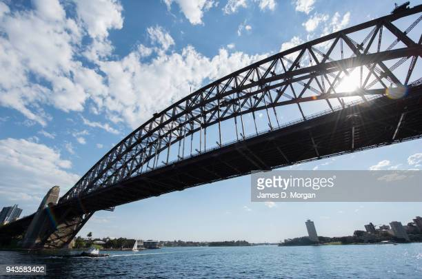 The sun shines through the arches of the Harbour Bridge on April 9 2018 in Sydney Australia Sydney has been experiencing unseasonably high...