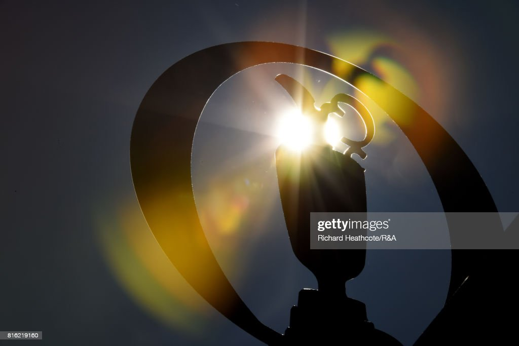 The sun shines through the Open logo during a practice round prior to the 146th Open Championship at Royal Birkdale on July 17, 2017 in Southport, England.