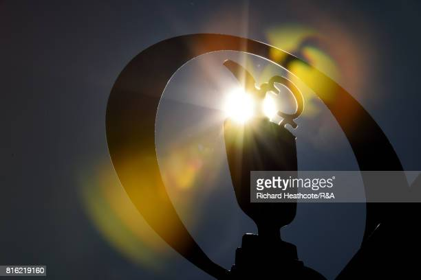 The sun shines through the Open logo during a practice round prior to the 146th Open Championship at Royal Birkdale on July 17 2017 in Southport...