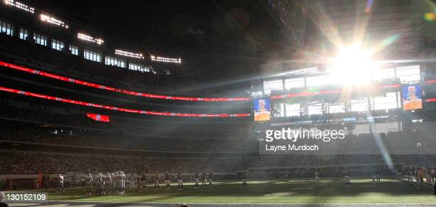 The sun shines through the windows of Cowboys Stadium as the Dallas Cowboys take on the St Louis Rams at Cowboys Stadium on October 23 2011 in...