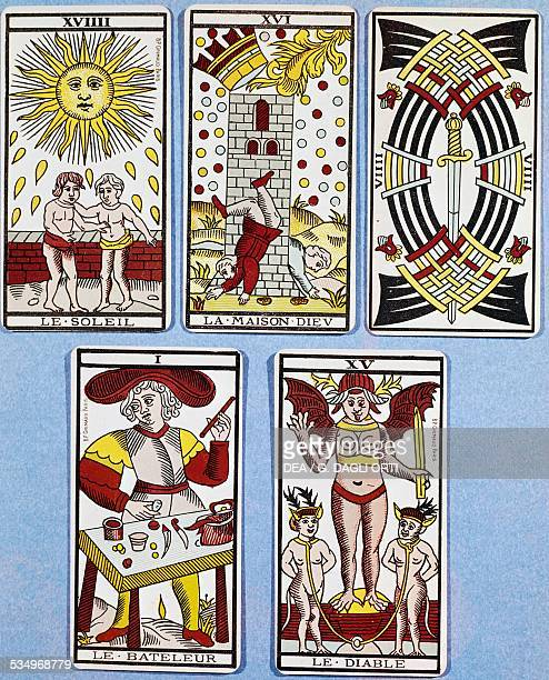 The Sun the House of God the Nine of Swords the Magician and the Devil French Tarot cards France 17th century