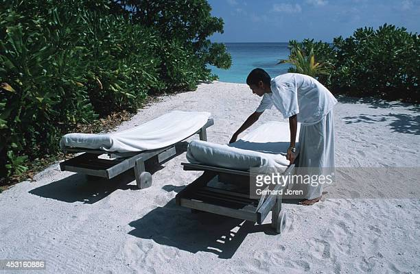 The sunchairs are being made up in one of the sixtyfive residences at Soneva Fushi Resort Spa a 30minute plane ride from Male the capital of the...