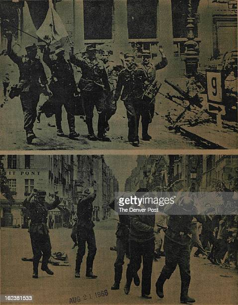 AUG 21 1966 The Sunday Denver post 3 German troops surrender in the streets of Paris in August 1944 marking the end of Nazi occupation The events...