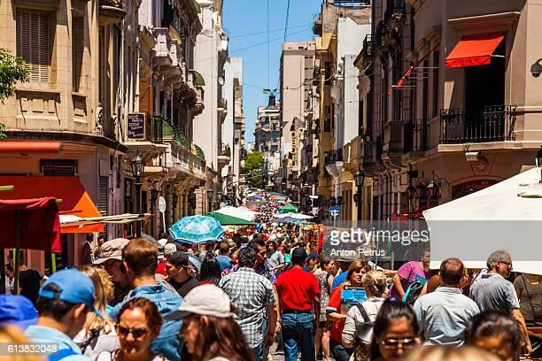 The Sunday San Telmo street market along avenue Defensa.