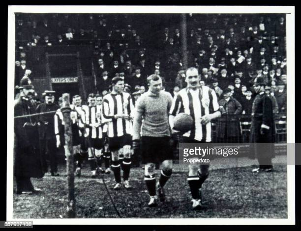 The Sunderland football team take to the field led by their captain Charlie Thomson at the start of the FA Cup Final against Aston Villa at the...