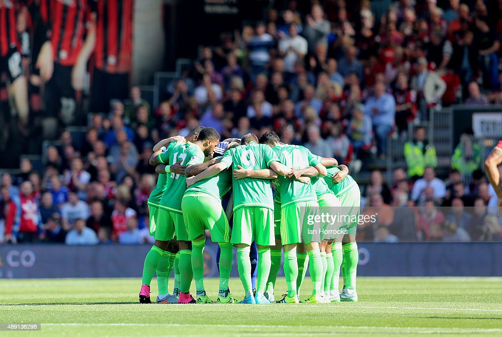 The Sunderland players in a team huddle during the Barclays Premier League match between Bournemouth and Sunderland at the Vitality Stadium on September 19, 2015 in Bournemouth, England.
