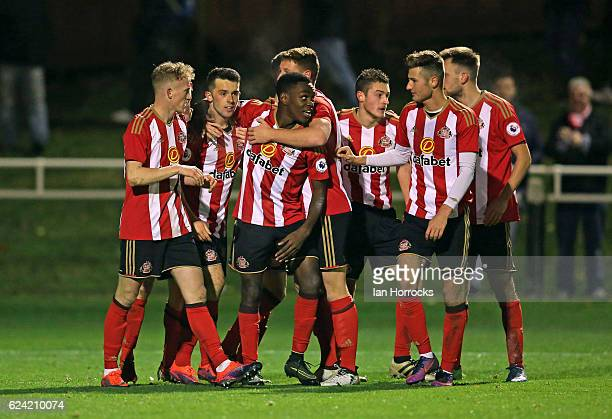 The Sunderland team celebrate the second Sunderland goal during the U23 Premier League International Cup match between Sunderland and Benfica at The...