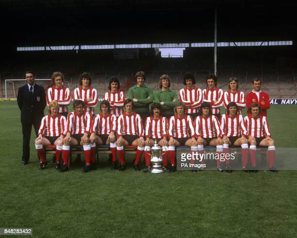 The Sunderland team for the 197374 season pictured with the FA Cup which they had won at the end of the 197273 season Bob Stokoe Mike McGivan Vic...