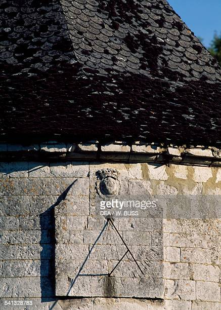 The sundial on the tower within Chateau de Montreuil Alette NordPasdeCalais France